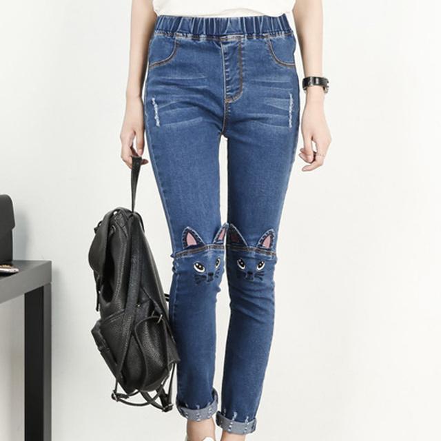 2017 Outono plus size de Algodão dos desenhos animados Das Mulheres Calça Jeans cintura elástica Mulheres calças de Brim Das Mulheres pés Lápis Azul Calças Compridas azul 5XL calças de brim