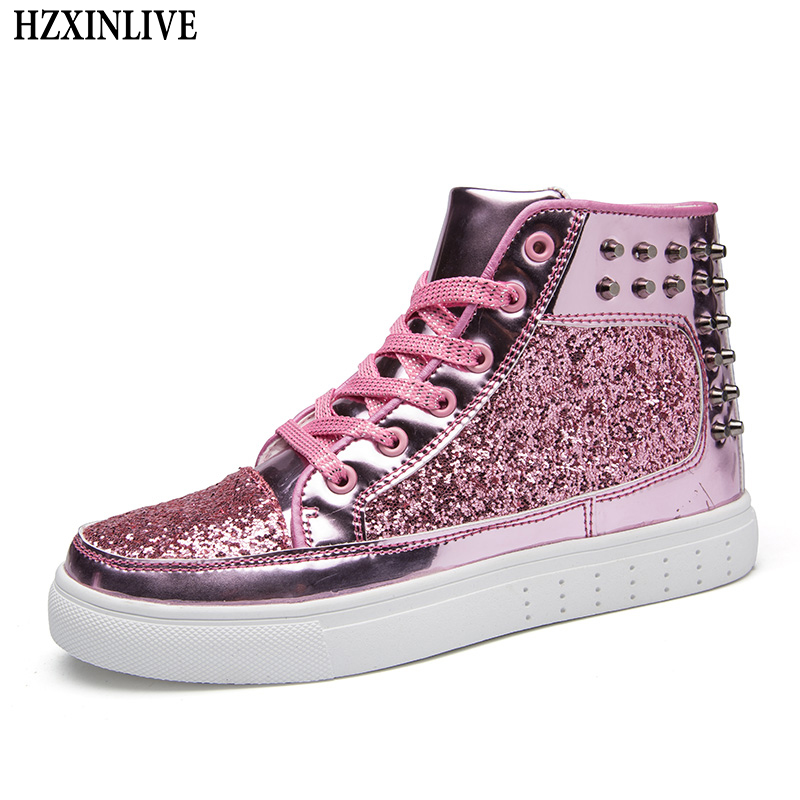 HZXINLIVE 2018 Fashion Women Flat Shoes Autumn Rivet Woman Sneakers Rhinestone Lace-up Female Casual Bling Ankle Shoes Plus Size