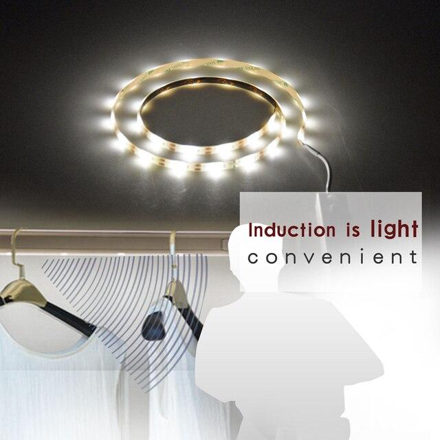 1M 30 LEDs Motion Sensor Closet Cabinet LED Night Light Battery Operated  Step Light Bar Wardrobe