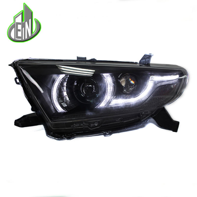 Car Styling Headlight Case 2012-2014 For Toyota Highlander headlights Led Head Lamp LED drl H7 hid Bi-Xenon Lens low beam