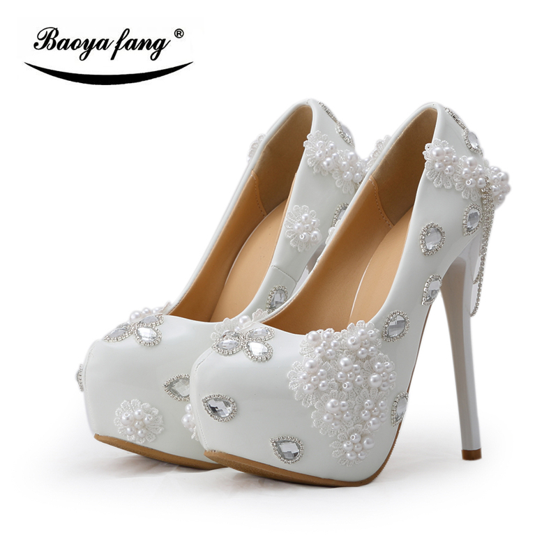 BaoYaFang white Beaded Womens wedding shoes Bride fashion High heels platform shoes Round toe big size female Pumps woman baoyafang red crystal womens wedding shoes with matching bags bride high heels platform shoes and purse sets woman high shoes