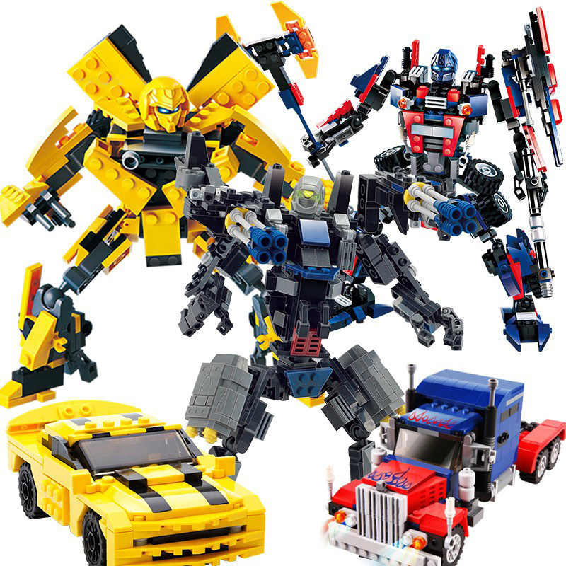 New Arrival Compatible with Lego 2 In 1 Transformation Series Robot Vehicle Sport car DIY Building Blocks Kit Toys Kids