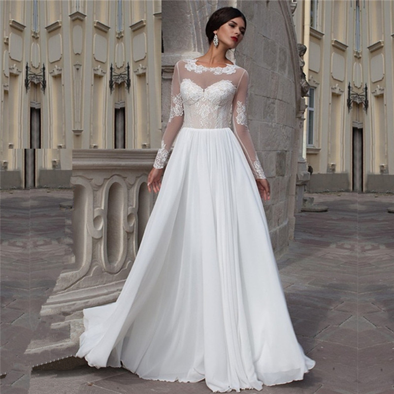 Wedding Gowns For A Beach Wedding: Long Appliqued Sleeves Wedding Dress Sheer Soft Tulle