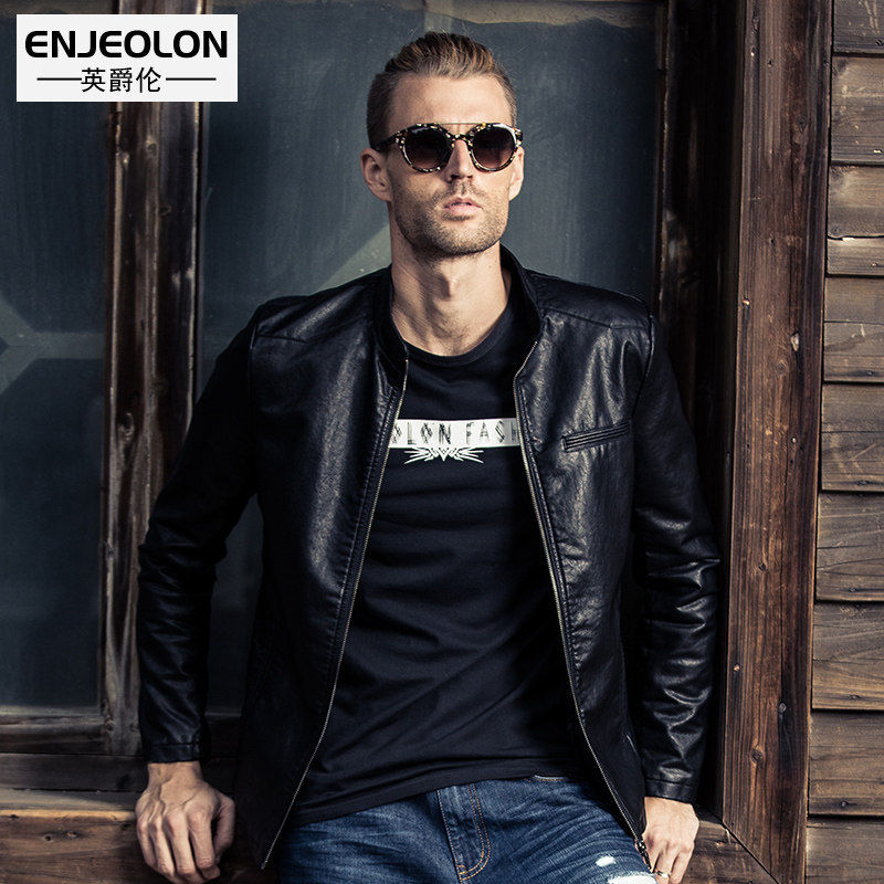 Enjeolon brand PU Motorcycle Leather PU Jackets font b Men b font solid black font b