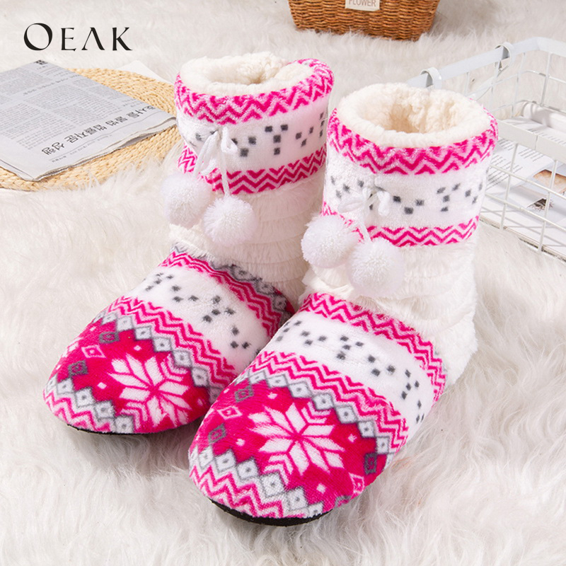 Winter New Shoes Woman Home Slippers Girls Christmas Indoor Shoes Warm Contton Slipper Plush Pantufa Soft 2018 OeakWinter New Shoes Woman Home Slippers Girls Christmas Indoor Shoes Warm Contton Slipper Plush Pantufa Soft 2018 Oeak