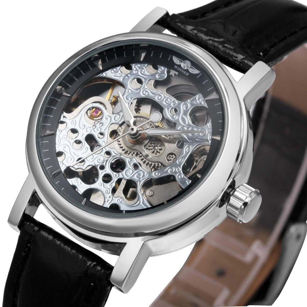 Vintage Mechanical Women Watches WINNER Top Brand Fashion Automatic Skeleton Wristwatches Leather relogio feminino Gifts +BOX 2016 winner watches women lady luxury brand skeleton automatic mechanical wristwatches artificial leather band relogio feminino