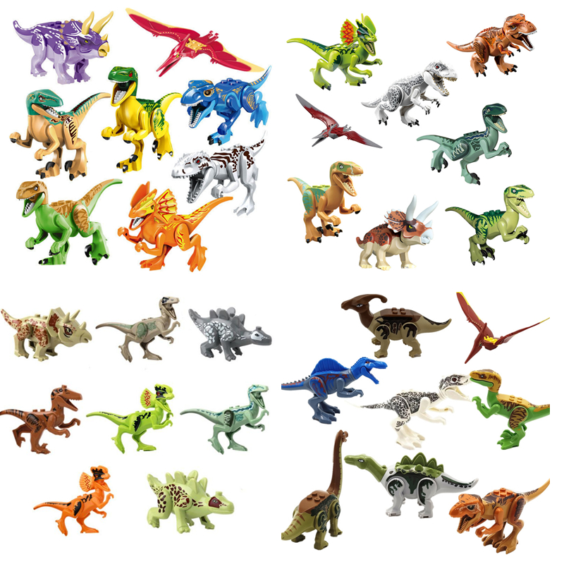 32PCS/set Super Heroes Jurassic World Dinosaurs Block Tanystropheus Tyrannosaurus Rex Building Block Bricks Legoingly Toys 2 pcs set xl jurassic dinosaurs indominus rex and t rex gyrospheres