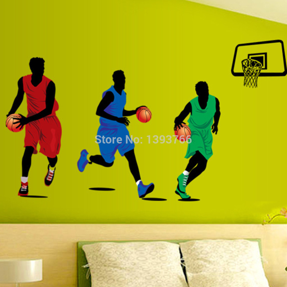 90*160cm Large Basketball Player Wall Stickers For Kids Room Star ...