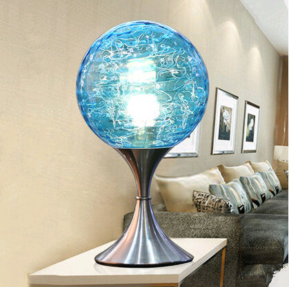 Modern Style Creative Mysterious Blue Glass Table Lamps Minimalist