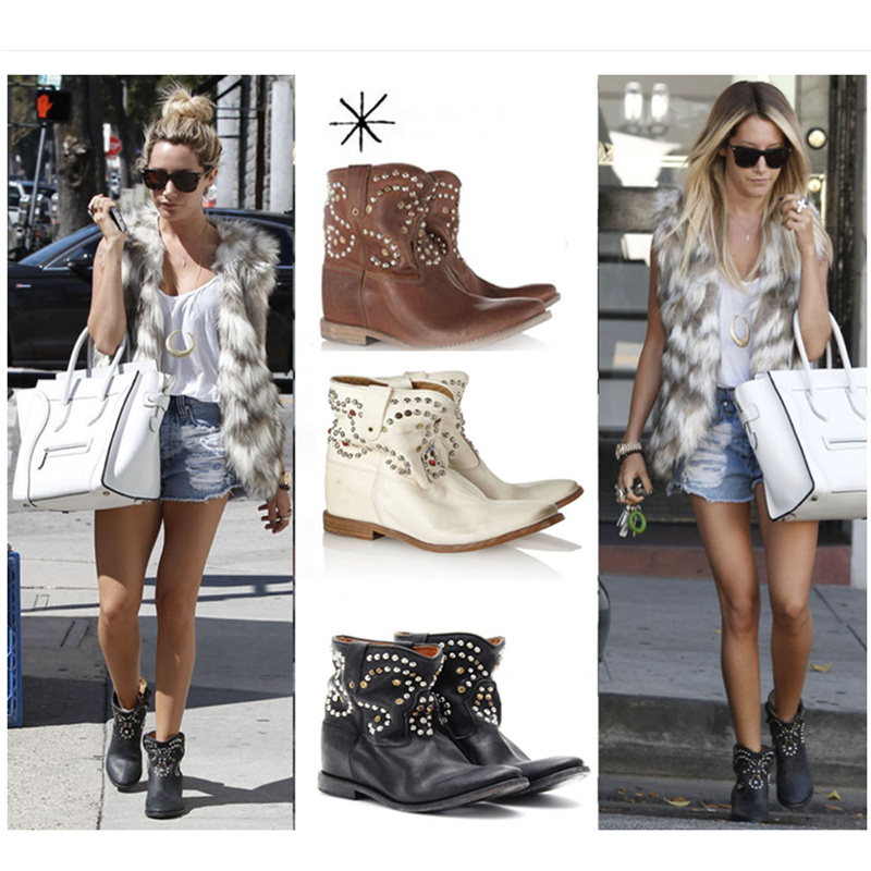 Luxury Brand Women Ankle Boots Short Booties Med Heel Crystal Rivets Embellished Retro European Hot Runway Stage Street Shoes yanicuding round toe women flock ankle booties metal short boots zip design luxury brand fashion runway star autumn shoes flats