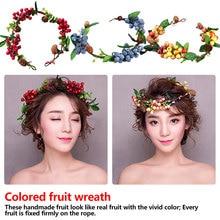 Sweet Bezel Glass Beads Flowers Wreath Fruit Headband Women Party Hair Accessories Floral Girls Head wear