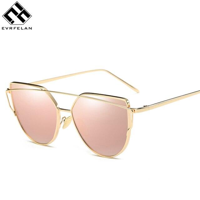 New Fashion Cat Eye Sunglasses Women Vintage Fashion Sun Glasses Unique Ladies Sunglasses UV400, Gold frame Earthly gold,