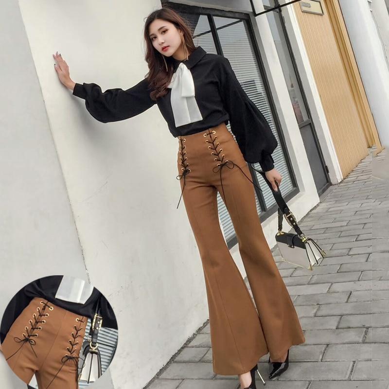 Ladies OL Work Wear Casual Pants Black Long Trousers Wide leg Flared Pants  Womens High Waist 3e32c587869e
