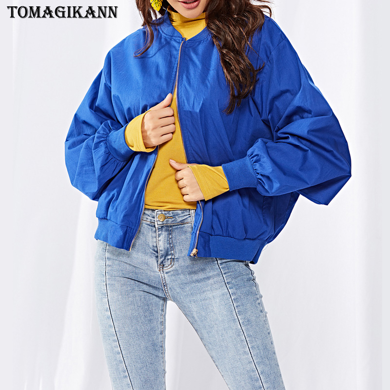 Women Blue Coats 2018 Casual Solid Stand Collar Zipper Ladies Jackets Fashion Long Sleeve Autumn Outwear Female Clothes