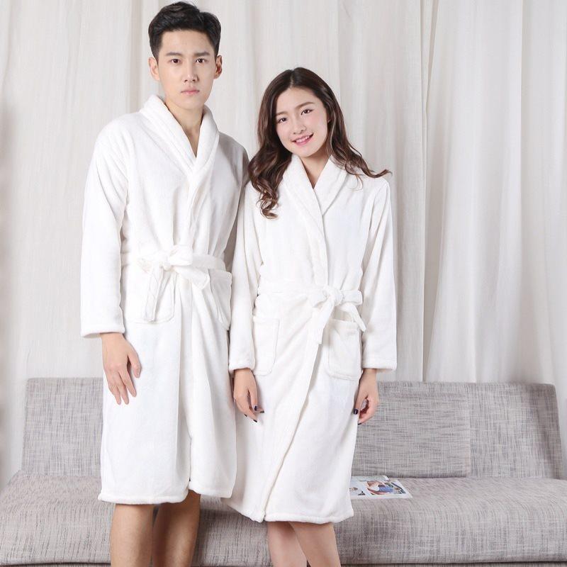 7f5dd8db Camisones de franela para parejas, hombres y mujeres, albornoces blancos,  terciopelo coral, pijamas ...
