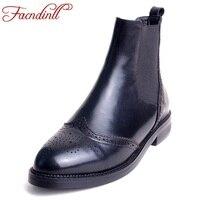 FACNDINLL Retro Design European Handmade Genuine Leather Shoes Woman Barrel Boots Thick Heel Martin Boots Fashion