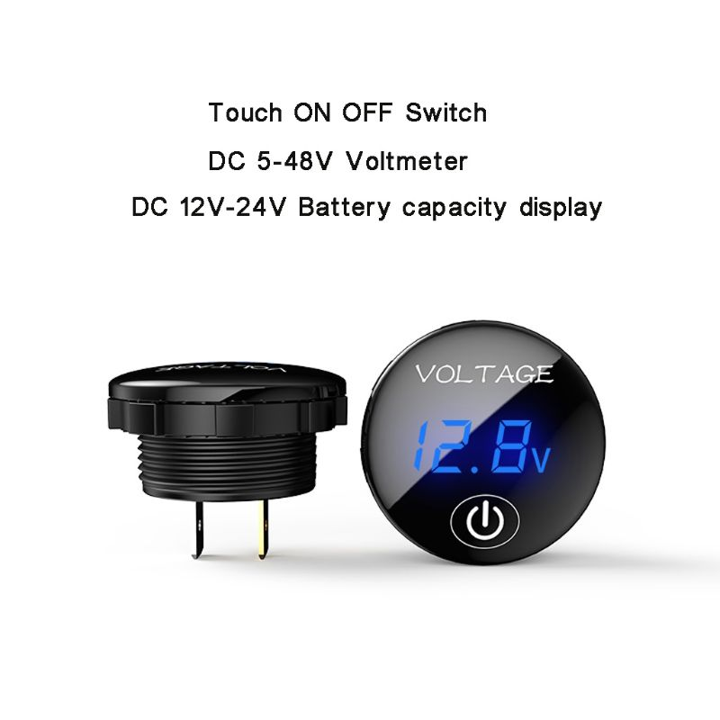 Car Motorcycle DC 5V-48V LED Panel Digital Voltage Meter Battery Capacity Display Voltmeter with Touch ON OFF Switch 2