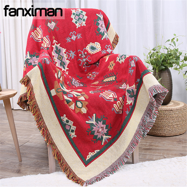 Ethnic Boho Cotton Blanket Knitted Large Fl Plaid Sofa Bed Throws Bedspreads Thickened Throw Blankets For