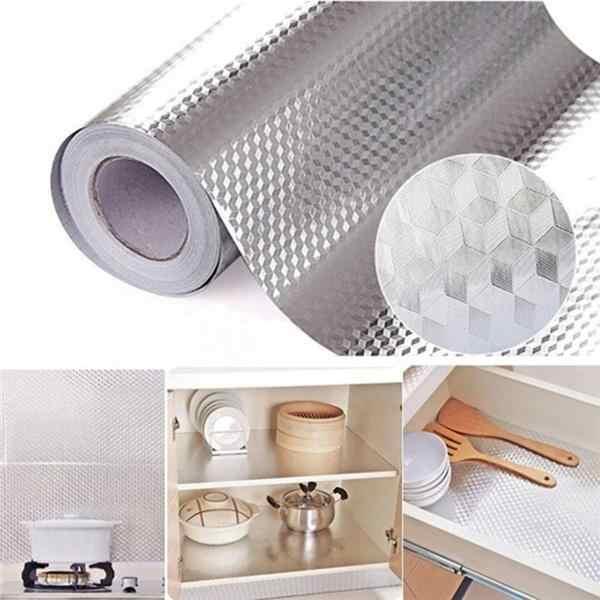 Cocina pared estufa papel de aluminio Aceite-Stickers antiincrustante alta temperatura autoadhesivo Croppable papel tapiz pegatina de pared