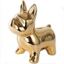 European Ceramic crafts mirror Bulldog cartoon puppy piggy bank access Home Decor for desktop decoration Money Box Fashion