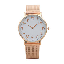 Лидер продаж бренд Роскошные Для женщин часы золотой сетки арабскими цифрами смотреть женское платье Нержавеющаясталь кварцевые Повседневное Наручные часы