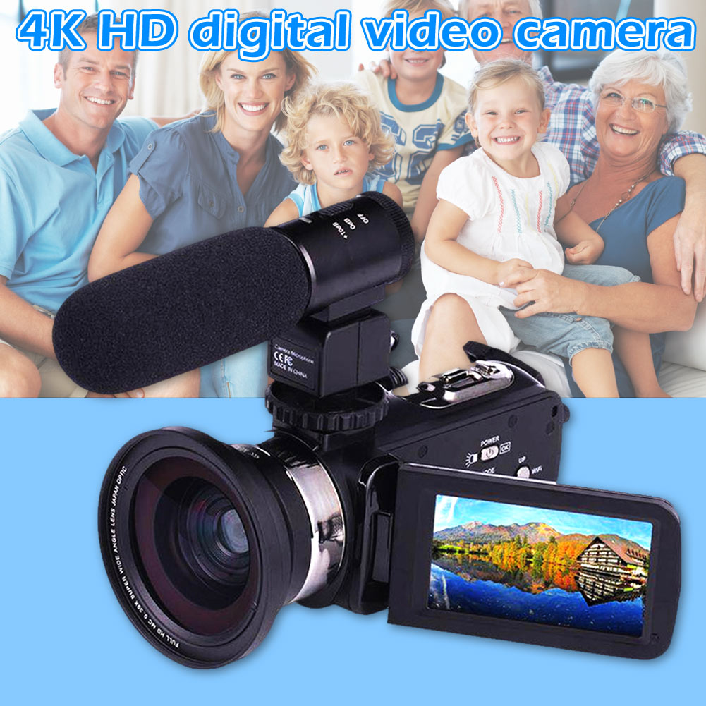 4K WiFi Ultra HD 1080P Digital Video Camera Camcorder DV with Lens+Microphone @JH4K WiFi Ultra HD 1080P Digital Video Camera Camcorder DV with Lens+Microphone @JH