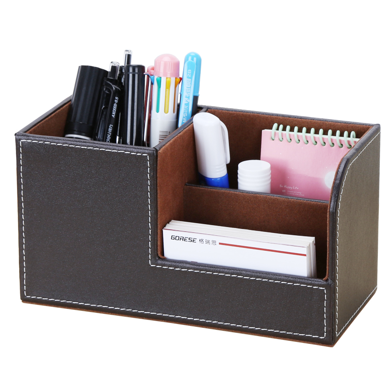 PU Leather Storage Organizer For Remote Tissue Mobile Cosmetics Stationery Desk Office Accessories Holders
