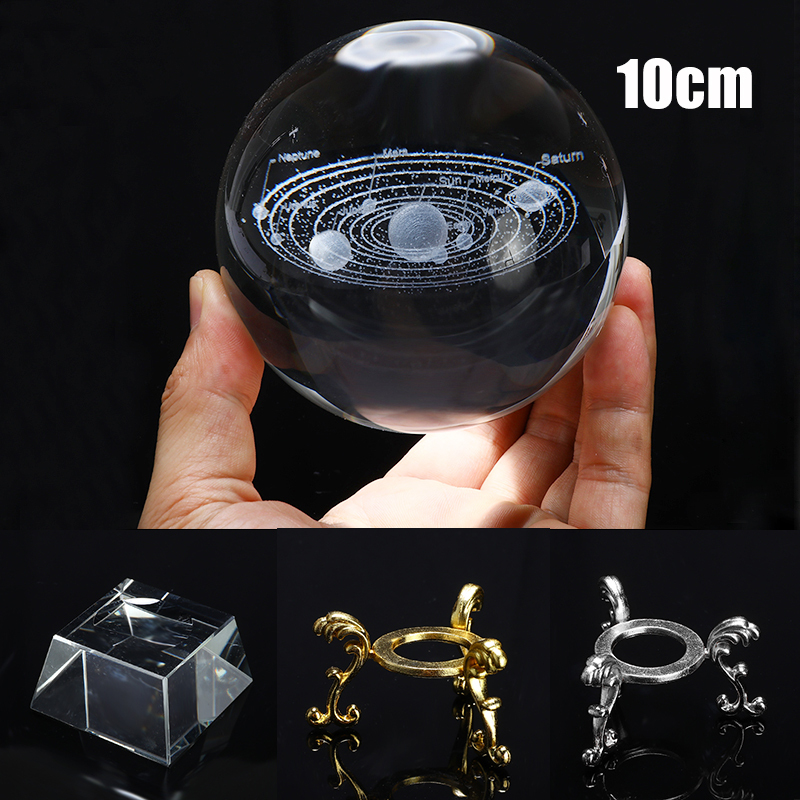 100mm K9 3D Crystal Ball Solar System Crystal Ball Miniature Laser Home Decor Glass Globe Tabletop Ornament Gift Photography