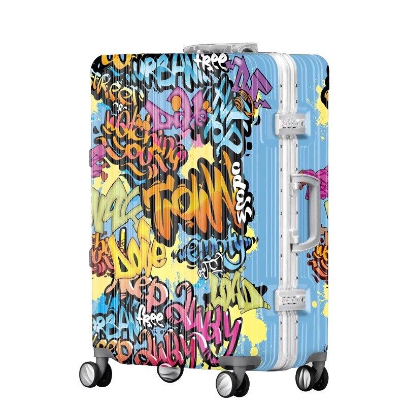 """Ehrlichkeit Reise Koffer Persönlichkeit Graffiti Spray Farbe Roll Gepäck Student Passwort Deichsel Retro Druck Gepäck 20 """"24"""" 28"""" Zoll"""