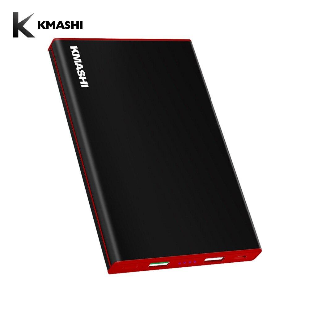 KMASHI 20000 mAh Puissance Banque QC 3.0 Deux-Façon Rapide De Charge Powerbank Double USB En Métal Cas Externe Batterie pour smartphones