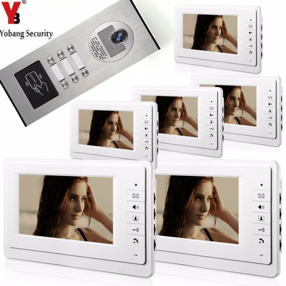 Yobang Security 7Inch Wired Video Door Phone Doorbell Home Entry Intercom System With RFID Access Door IR Camera For 6 Units yobangsecurity wired video door phone 7 inch lcd video doorbell door chime home intercom system kit with rfid access ir camera