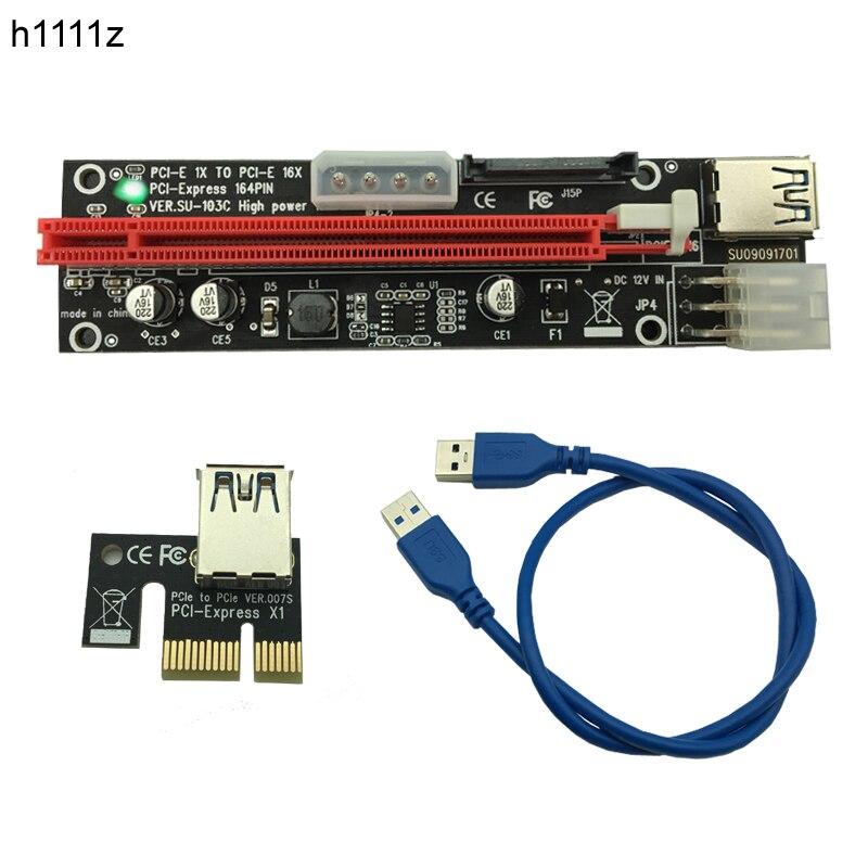 все цены на 50pcs PCI-E PCI E Express 1X to 16X graphics Riser Extender Card SATA 15 Pin 6 Pin 4 PIN 3 Power Supply With LED light display онлайн