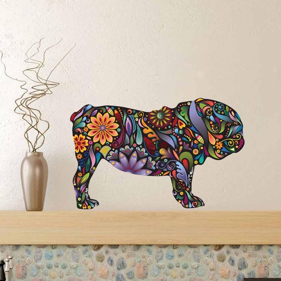 Cute Pet Animal Bulldog Dog Wall Decal Removable Vinyl Wall Sticker Art Self Adhesive Wallpaper For Living Room Home Decor