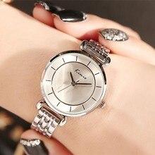 KIMIO Simple Women's Watch Armband Alloy Ladies Klockor Topp Märke Luxury Quartz Armbandsur Klockor Klocka Bayan Kol Saati