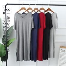 Women Nightgowns Summer Sleepwear Casual Night Dresses Plus size Short Sleeve slit dresses women Loose Nightdress