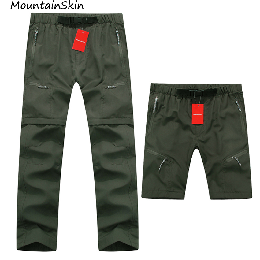 Mountasinskin New Summer Spring Mens Pants Quick Dry Breathing Removable Trousers Military Pants Casual Army Male Clothing LA005