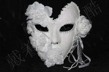 Venetian Mask Masquerade Women Mask Princess Elegant Lace Plus Carnival Party Full Face Feather Mask White Halloween Mardi Mask faux crystal embellished lace feather party mask