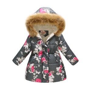 Image 5 - אופנה בנות למטה מעיל צמר חורף ילדי בגדי סלעית מעיל פרחוני תינוקת מעיל להאריך ימים יותר ילדי תלבושות חולצות מגשרים