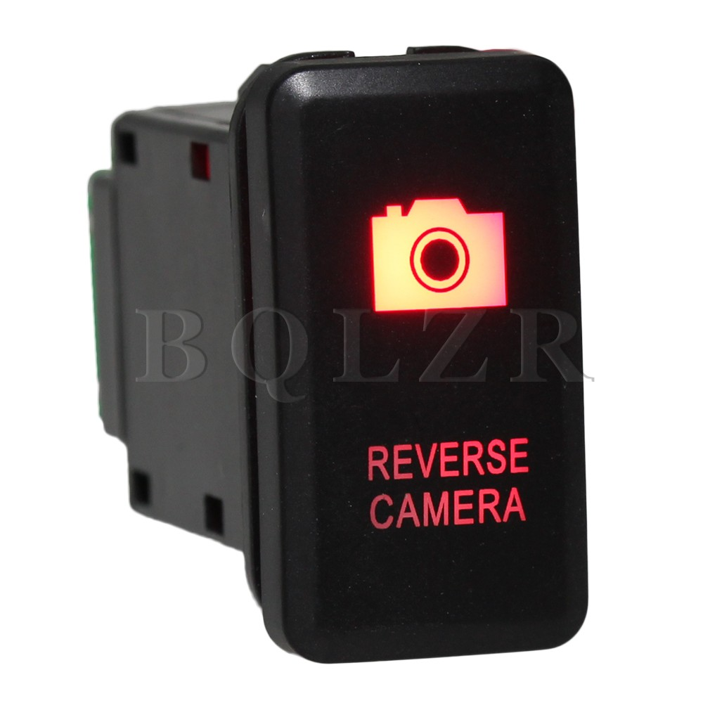 BQLZR Red Pattern Push Switch S-OT Reverse Camera Toggle Switch for TOYOTA Old Style bqlzr dc12 24v black push button switch with connector wire s ot on off fog led light for toyota old style