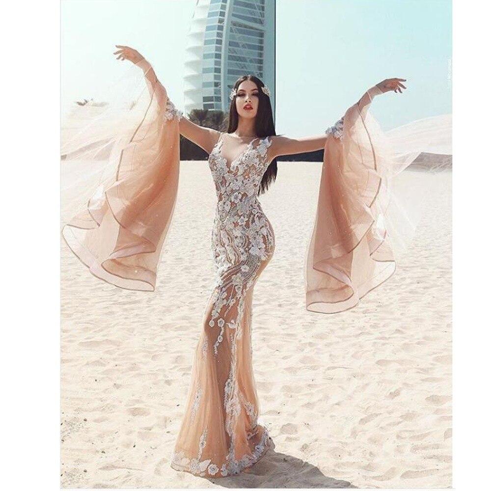 Flare Manches Sexy Dentelle De Soirée Arabe Robes Complet Abendkleider Nude 2018 Kaki Sirène Bal Dubaï Formelles Arabie Couleur fgYbvy76