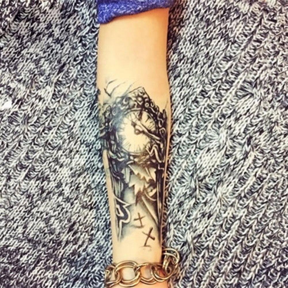 0 28 33 De Descuento Tatuajes De Reloj Negro Para Hombres Tatuaje Para Pierna Y Brazo Mecánico Grande Temporal Adhesivo 3d Para Mujeres Tatuaje