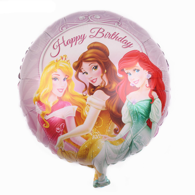 TSZWJ N 003 New Aluminum Balloons Balloon Toys For Children Round Princess Happy Birthday