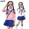 WEONEDREAM Preppy Style 2017 Girls Clothes Navy Blue White Pink Students Set Long Sleeves T-shirts+Skirt 2pcs Girls Clothing Set