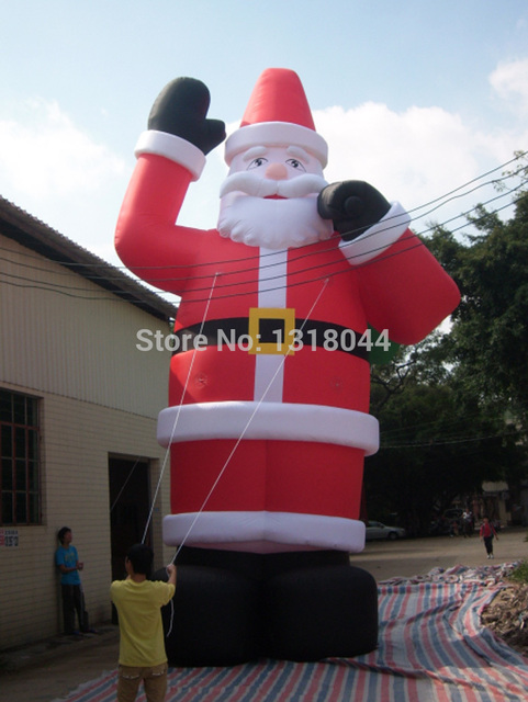 8mh26ft outdoor giant inflatable christmas decoration standing santa with green bag - Cheap Inflatable Christmas Decorations