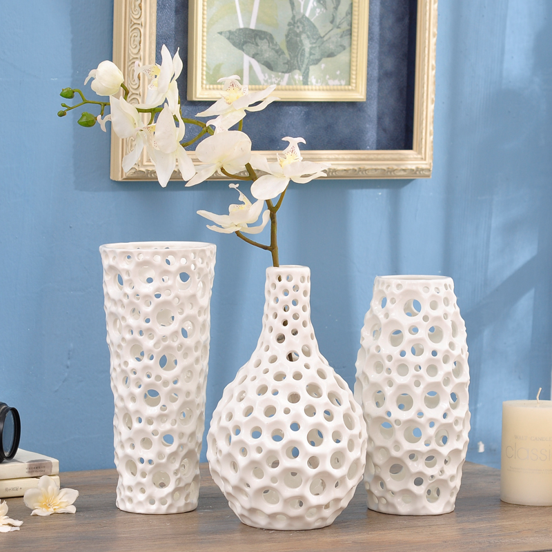 Handmade geometry hollow emboss round dots white flower for Decoration maison aliexpress