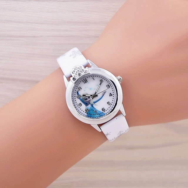 2017 New Cartoon Children Watch Princess  Watches Fashion Kids Cute relogio Leather quartz WristWatch Girl Gift relojes