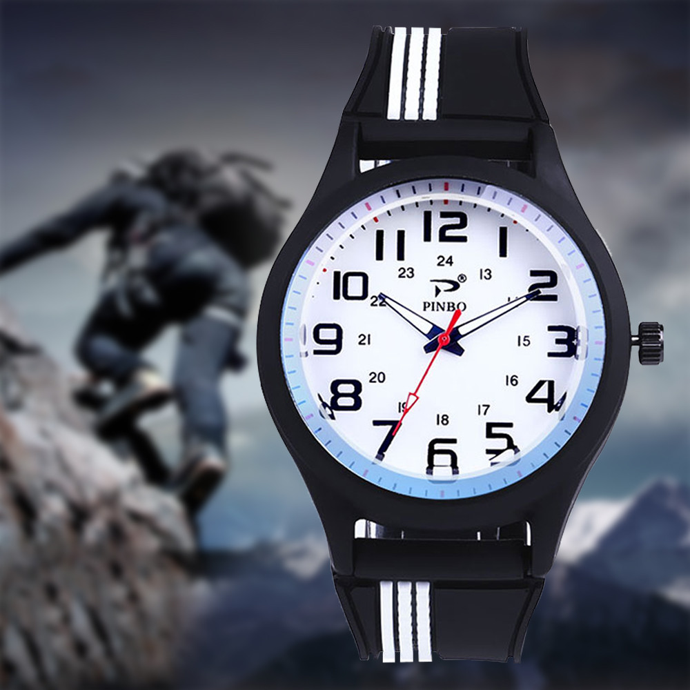 PINBO Fashion Casual Brand Watch Man Outdoor Sport Silicone Strap Buckle Simple Mens Clock Quartz Wrist Watches reloj hombre