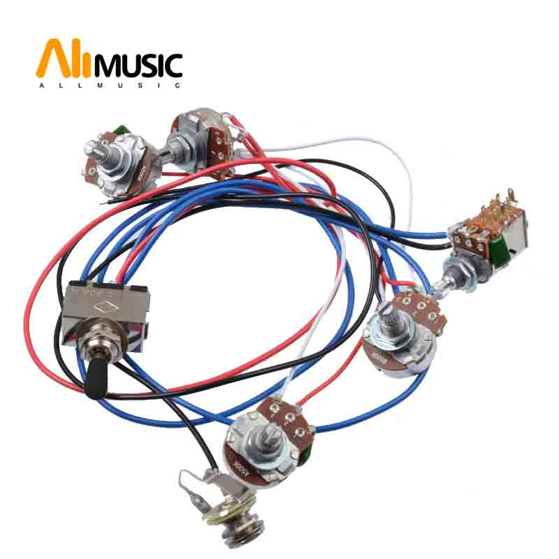 electric guitar wiring harness kit 2v2t pot jack 3 way switch for gibson les paul guitar lp. Black Bedroom Furniture Sets. Home Design Ideas