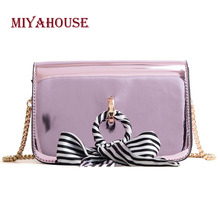Miyahouse Korean Style Fashion Shoulder Bag Patent Leather Messenger Bag With Chain For Female Ribbons Design Crossbody Bag