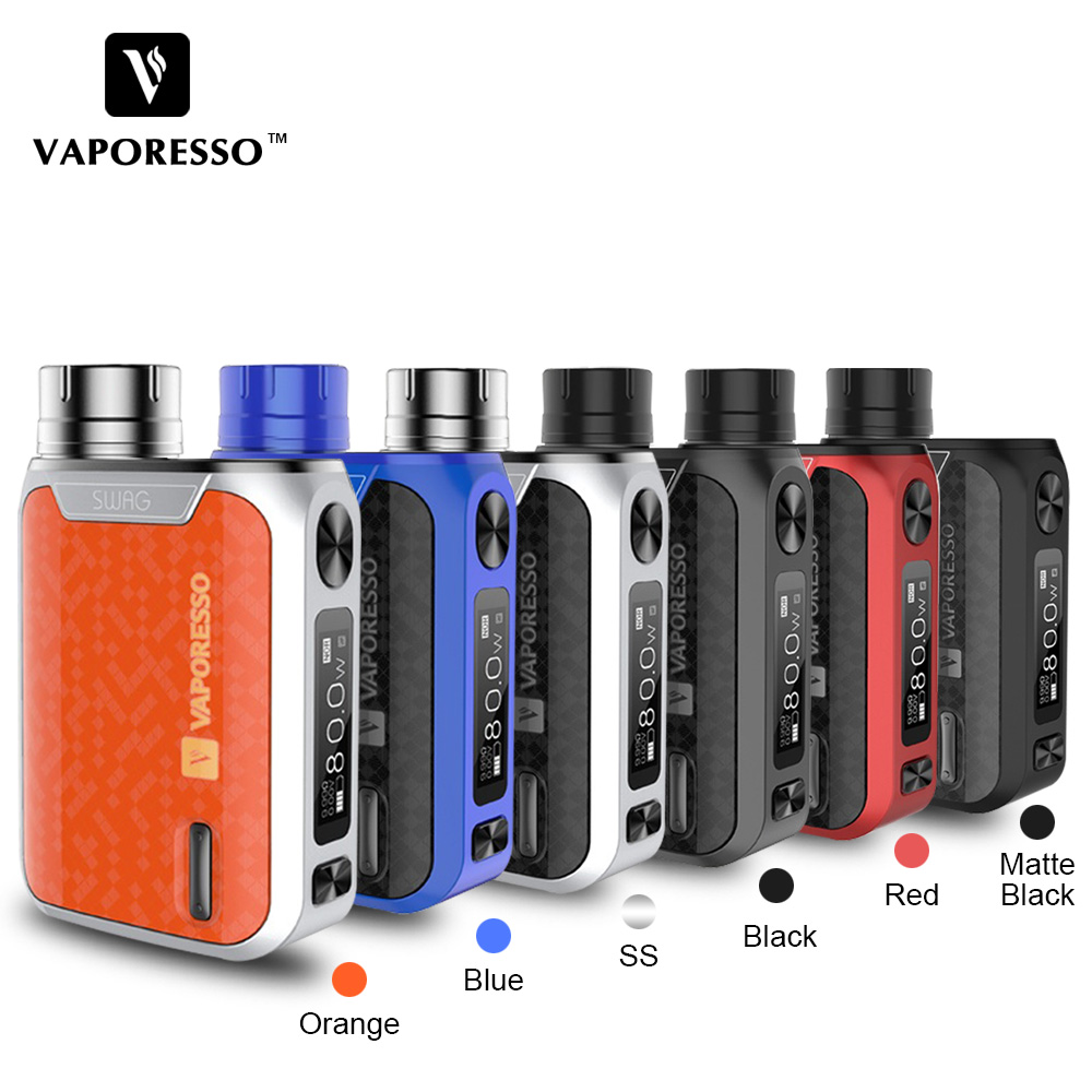 Original Vaporesso Swag TC Box MOD 80W 0.91-inch Screen Vape Mod fit NRG SE NRG SE Mini Tank Atomizer Electronic Cigarette Mod цены